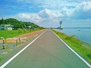 霞ヶ浦一周サイクリング大会での歩崎公園近くの湖岸道路